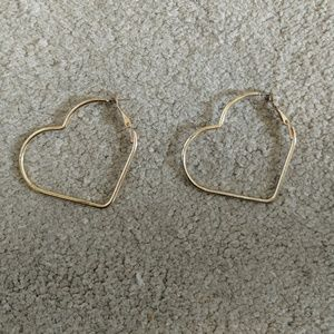 SALE! Heart shaped hoop earrings